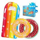 3 Pack Pool Floats for Kids Inflatable Swimming Rings Fruit Pool Float Summer