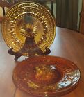 Vintage Colony Park Lane Pattern Set of 4 Textured Amber Glass Luncheon Plates