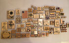 Rubber Stamps With Wood Mounts Huge Lot Of 87 Crafts Scrapbooking