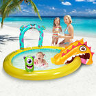 Kids Monster Inflatable Swimming Pool W Slide  Sprayer Summer Water Play Home