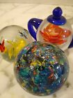 3 Glass Paperweights Multicolor Flower Teapot Butterfly Flower