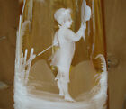 Antique hand blown attractive ginger ale color Mary Gregory glass pitcher