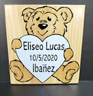 Personalized Baby Sign Baby Name and Birth Bear Nursery CARVED Baby wall Decor