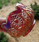 Indiana Glass Heirloom Sunset Ruby Red Carnival Glass Hobstar  Arches Design