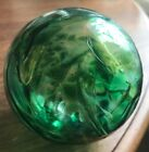 Pyromania Art Studio Handblown Glass Float Green Swirl from Newport Oregon 2002