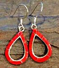 Native American Indian Jewelry Sterling Silver Red Coral Inlay Earrings