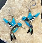 Native American Indian Jewelry Sterling Turquoise Hummingbird Earrings Signed