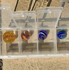 Beautiful LOT of 4 Art GLASS Handmade COLORFUL Contemporary Swirl Marbles
