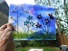 FABULOUS Stained Glass Blue Multi Flowers Grass Floral Handmade Fused Suncatcher