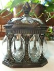 Vintage Ornate Hand Blown Glass In Metal Frame Storage Container Dish India