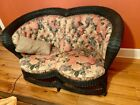 Beautiful Wicker Set Settee sofa and two chairs vintage style fabric