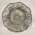 Vintage Iridescent Carnival Glass Star Fruit Bowl Ruffled Saw tooth
