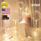 10 PCS LED WHITE Light Up BOBO Balloon 20 InchWITH STICK10 Pack Clear PUMP