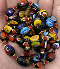 Vintage Italian Millefiori Glass Bead Beaded Colorful Knotted Necklace 30