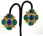 Vintage Signed Craft Lapis Glass Earrings Bold High Quality Earrings