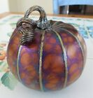 Studio Art Hand Blown Glass AMBER BASE Iridescent Luster CURLY STEM PUMPKIN
