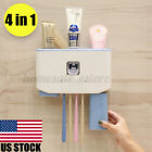 Automatic Toothpaste Dispenser Toothbrush Holder Storage Wall Rack w 2 US