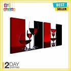 Wine Glass in Red Black White Canvas Paintings Wall Art Home Decoration 2 Pcs