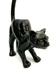 Ceramic BLACK CAT Tealight Candle Holder Glass Eyes Long Tail Tabby Kitty