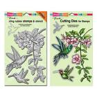 Stampendous Discontinued Jumbo Cling Stamp and Die Lot Hummingbirds CRS5072