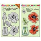 Stampendous Discontinued Jumbo Cling Stamp and Die Lot Pretty Poppies CRS5096