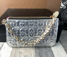 Anthropologie Deux Lux Small Silver Quilted Heart Faux Leather Handbag CLUTCH
