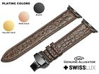 For APPLE WATCH 1 2 3 4 5 6 Crocodile Alligator BROWN Leather Strap Band Clasp