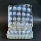 4 FENTON FRENCH OPALESCENT HOBNAIL SQUARE PLATES 875 CLEAR WHITE MOONSTONE