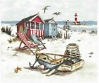 BEACH Lounge Chairs Cabana Lighthouse Ocean Seagulls Counted Cross Stitch KIT
