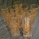 Set of 10 St Louis Crystal Gold Scroll Faceted Tumblers Handmade France Rare
