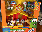 Veggie Tales Christmas Nativity 16 Piece Play Set Light  Song New in Box