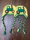 Childrens Tractor Beanie Two For The Price Of One! Yellow And Green Crocheted