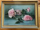 Antique 1900 Framed Signed Oil Painting of Pink Roses Glass Bowl M H Tuttle