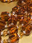 Amber Root Beer Colored 52 Beaded Glass Necklace W 3 Style of Beads VERY NICE