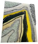 Geode Resin Glitter Glass Yellow Black Silver Picture Wall Art