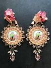 Vintage COLLEEN TOLAND Cameo Bird Tassel Earring Signed Pierced