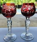 Lausitzer Bohemian Cranberry Ruby Cut To Clear Cordial Grape Crystal Glasses