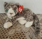 2000 TY Purr the Beanie Baby Grey - White paws Cat Kitten Perfect NWT