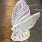 Fenton Art Glass Butterfly Iridescent White with Opalescent Tips