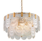 Luxury 10 Light Crystal Glass Shell Chandelier Pendant Lamp Gold Ceiling Fixture