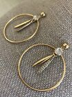 Rare J crew gold Clear crystal Pave dangle round hoop drop stud earrings EUC