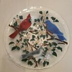 Peggy Karr Fused Art Glass Large Bowl Platter 13 Song Birds and Apple Blossoms