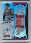 RICK PORCELLO 2010 TOPPS TRIPLE THREADS ON CARD AUTO TRIPLE JERSEY SWATCH 78 99