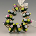 Polychrome Beads Lampwork Fruit Drops handmade glass 10 green and pink discs