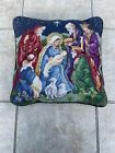 14Religious Tapestry Needlepoint Pillow The Virgin Mary  Birth Of Jesus Christ