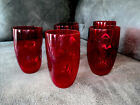 Set of 5 Blenko Ruby Red Glass Indented Dimple Pinched Tumblers 5 Tall