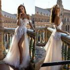 2021 NEW IN Boho Tulle Wedding Dresses Beach Bridal Gown Sexy Thigh High Split