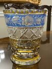 RARE ANTQ 2 COLOR AMBER  BLUE CUT TO CLEAR CRYSTAL VASE INTAGLIO ROSES