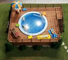 NEW BUILT HO SWIMMING POOL LIGHTED WITH WOOD DECK FOR TRAIN LAYOUT COMPLETE