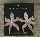NWT 98 LELE SADOUGHI Signed Crystal Water Lily Button Post Earrings Blush
